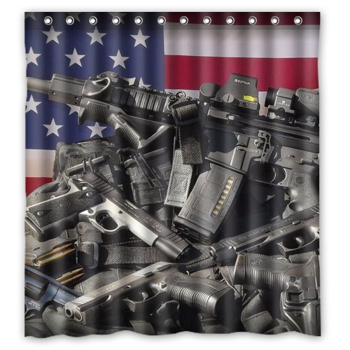 Nice Weapons Rifle Guns Ammo Background Waterproof Shower Curtain/Bath Decor--Size: 66