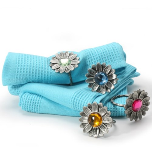 Danesco Napkin Rings with Colored Gemstones - Set of 4
