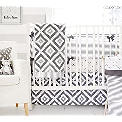 My Baby Sam Imagine 3 Piece Crib Bedding Set, Gray, White