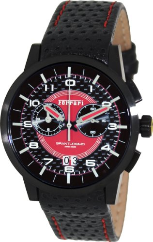 FERRARI FE-11-IPB-CP-RD GENTS BLACK CALFSKIN PVD STAINLESS STEEL CASE DATE WATCH