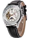AMPM24 Montre Tourbillon Mécanique Automatique Sun/Moon 24 Heures affichage Montre Homme Bracelet Cuir Noir PMW387