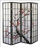 Roundhill Black Japanese 4-Panel Screen Room Divider, Plum Blossom