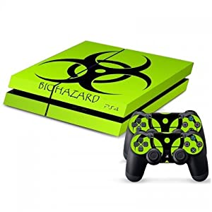 258stickers® Playstation 4 Console Skin & Remote Controllers Skin - Green Light Biohazard Sticker