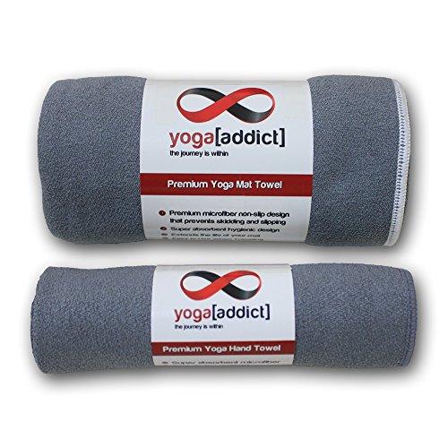 Eco Natural Yoga Mat Towel Combo: YogaAddict Yoga Mat Towel And Hand Towel Combo Set