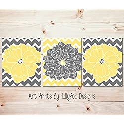 Yellow gray wall art Floral burst home decor Flowers and Chevron Dahlia pictures Bedroom wall art Modern bathroom wall art Set of 3 Prints #1064