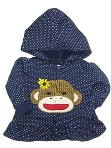 Girls Baby Sock Monkey Sunflower Dot Hooded Sweatshirt with Ruffle by Baby Starters