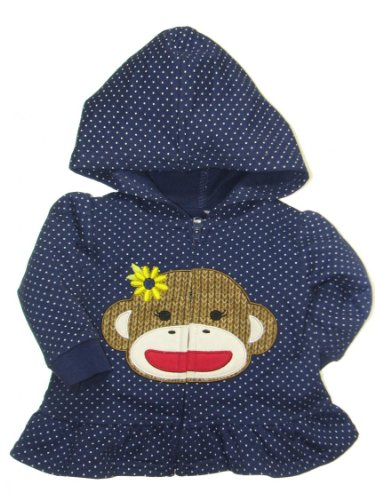 Girls Baby Sock Monkey Sunflower Dot Hooded Sweatshirt With Ruffle By Baby Starters - Navy - 6 Mths / 12-16 Lbs front-216515