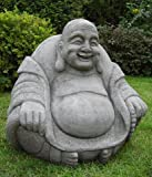 Laughing Stone Cast Fat Garden Buddha Ornament - Statue