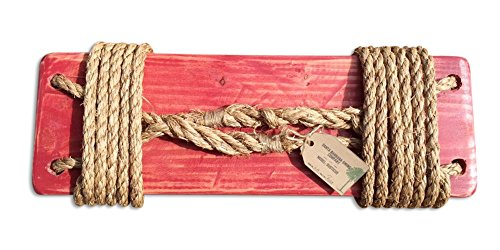 Santa Barbara Rustic Tree Swing with 12 Feet Natural Rope, Red (Baby Swing With Ac compare prices)
