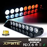 Xprite Gen 3 White & Red 24 LED High Intensity LED Law Enforcement Emergency Hazard Warning Strobe Lights For Interior Roof / Dash / Windshield With Suction Cups