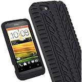 igadgitz Schwarz Silikon Skin Tasche Hülle mit Reifen Profil für HTC One V Primo T320e Smartphone Handy + Display Schutzfolie