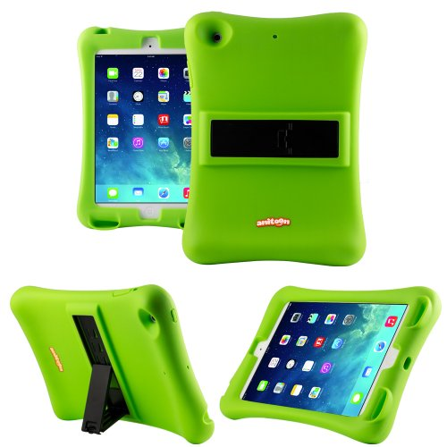 Anitoon Amplifier Speaker Case Cover For Ipad Mini & Ipad Mini With Retina Display Green With Armor Body And Stand
