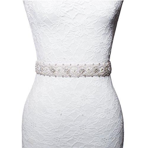 Rhinestone Pearl beads beaded wedding accessories sash belt Ivory Satin