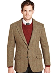 Big & Tall Sartorial Luxury Pure Wool 2 Button Herringbone Checked Jacket