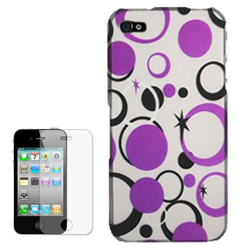 Combo Deal! Purple Dots and Circles Hard Skin Case Cover + Clear LCD Screen Guard Protector for Verizon and AT&T Apple iPhone 4 4G