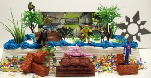 Teenage Mutant Ninja Turtles 25 Piece Birthday Cake Topper Set Featuring Sensei Splinter, Donatello, Leonardo, Raphael, Michelangelo, April, Shredder, Kraang And Themed Decorative Accessories - Cake Topper Set Includes All Items Shown front-800772