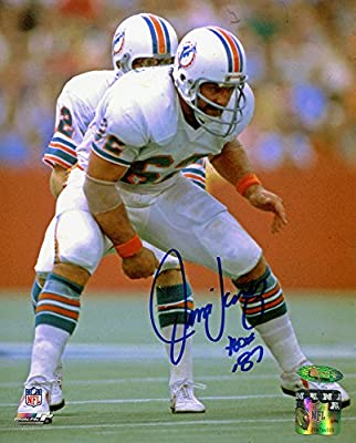 Jim Langer Signed Autographed Miami Dolphins 8x10 Photo Inscribed HOF 87 TRISTAR COA