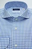 (スキャッティ) SCHIATTI 白地 サックスブルー ギンガムチェック ホリゾンタル ワイド (細身) ドレスシャツ wd3464
