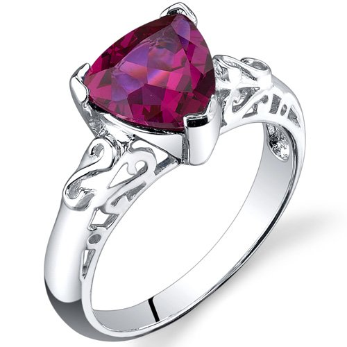 Trillion Cut Sterling Silver 2.25 carat Ruby Solitaire Ring Size 6 Free Shipping