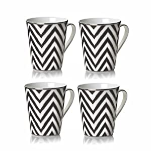 Mikasa Color Studio Black-Platinum Zig Zag Set of 4 Mugs