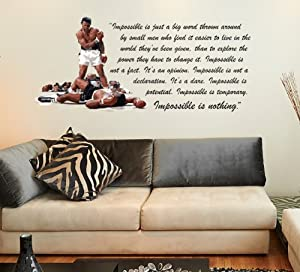Muhummad ali inspirational quote nothing is impossible for Boxing bedroom ideas