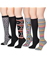 Tipi Toe Women's Assorted 6-Pack Colorful Patterned Knee High Socks