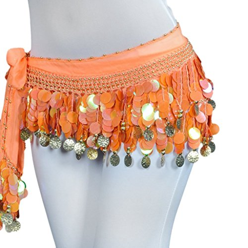 [DQdq Women's Belly Dance Chiffon Hip Scarf Waist Chain with Colorful Coins Orange] (Made To Measure Belly Dance Costumes)