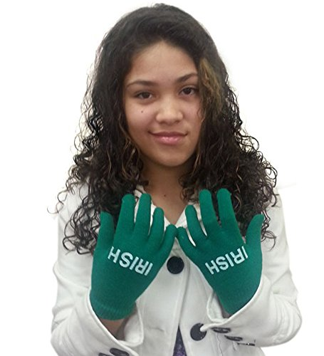 St. Patrick's Day Style Green Acrylic Gloves With Irish Inscription