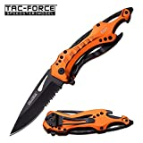TAC Force TF-705 Series Assisted Opening Tactical Folding Knife, Half-Serrated Blade, 4-1/2-Inch Closed, Orange (Color: Orange, Tamaño: 1 Pack)