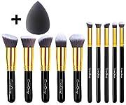 EmaxDesign Makeup Brushes 10+1 Pieces Makeup Brush Set, 10 Pieces Professional Foundation Blending Blush Eye Face Liquid Powder Cream Cosmetics Brushes & 1 Piece Black Beauty Sponge Blender With Bag