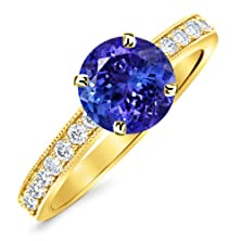 buy 1.3 Carat 14K Yellow Gold Classic Side Stone Pave Set With Milgrain Diamond Engagement Ring With A 1 Carat Natural Tanzanite Center (Heirloom Quality)
