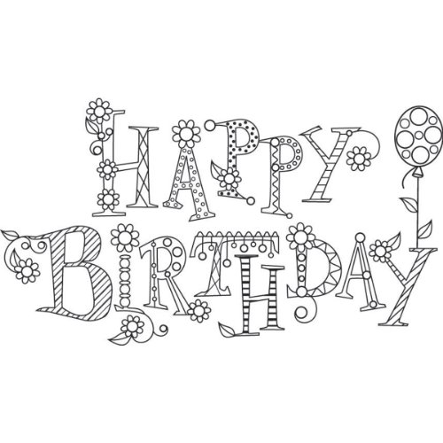 Hampton Art Outline Design Sparkle Happy Birthday Rubber Stamp - 1