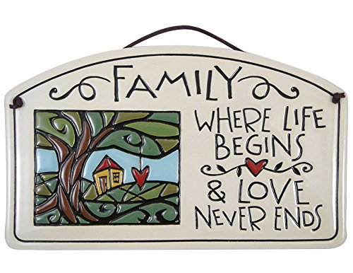 Family Where Life Begins and Love Never Ends - Ceramic Arch Plaque, 8.5-Inches
