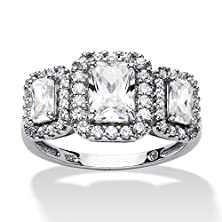 buy Emerald-Cut White Cubic Zirconia Platinum Over .925 Sterling Silver 3-Stone Engagement Ring