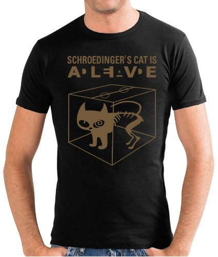 Touchlines Slimfit T-shirt - Schroedingers Cat Is Alive-T-shirt Uomo,    nero/oro S