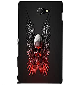 PrintDhaba Skull D-1240 Back Case Cover for SONY XPERIA M2 (Multi-Coloured)