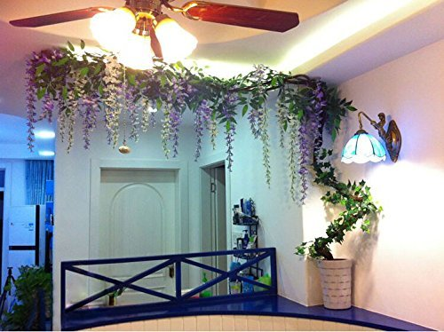 3 4 Ft Realistic Romantic Classic Artificial Fake Wisteria Vine Ratta Silk Flowers For Garden