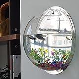 LING'S SHOP Home Decoration Pot Wall Hanging Mount Bubble Aquarium Bowl Fish Tank Aquarium (Mirror, 19.5*19.5cm)