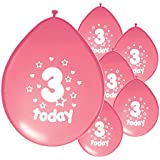 10 x 3RD BIRTHDAY GIRL/ AGE 3 GIRL PINK BIRTHDAY BALLOONS (PA)
