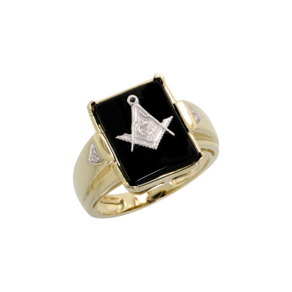 10k Gold Rectangular Mens Masonic Ring, w/ Brilliant Cut