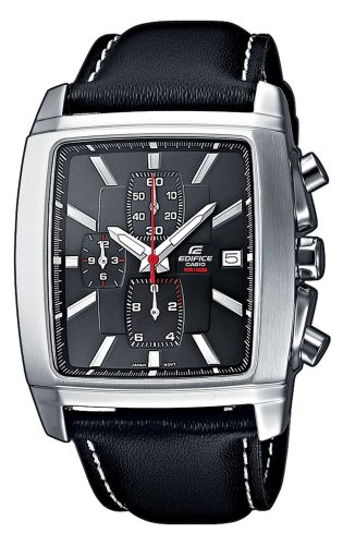 Casio EF-509L-1AVEF Men's Analog Quartz Watch with Chronograph and Leather Strap
