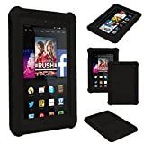 TECHGEAR® Bumper Case for Amazon Fire HD 7 (2014 Edition / 4th Gen / HD7) Rugged Heavy Duty Anti-Shock Rubber Protective Case with Added Corner & Edge Protection and Easy Grip Design + Screen Protector [BLACK] - Kids & School Friendly Case