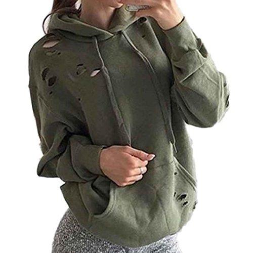 STHC Allentato Manica Lunga Da Donna Felpa Con Cappuccio Ponticello Pullover Camicia Delle Parti Superiori Del Cappotto (Large, Verde)