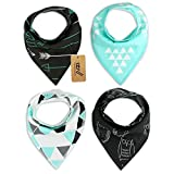 iZiv(TM) Baberos del Bebé - Paquete de 4 Diseños Pañuelo con Snaps Ajustables, TPU Impermeable Guarnición para niño 0-2 años (Color-5)