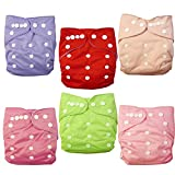 Alva Baby Double Rrows of Snaps 6pcs Pack Fitted Pocket Washable Adjustable Cloth Diaper with 2 Inserts Each (Girl Color)6BM88