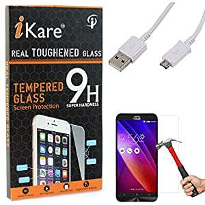 iKare Tempered Glass for Asus Zenfone 2 Laser ZE500KL, Tempered Screen Protector for Asus Zenfone 2 Laser ZE500KL + Data Sync and Charging Cable