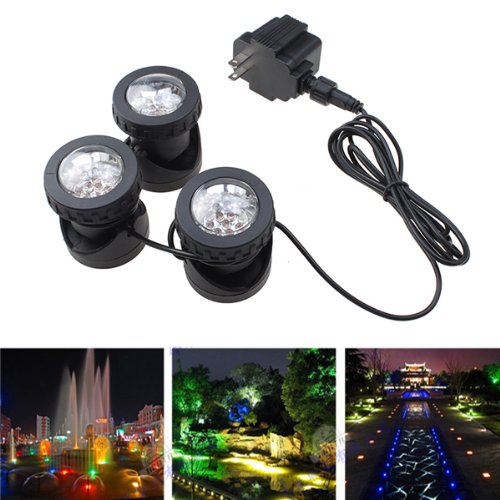 IMAGE® 25W 200MA 3 LED Underwatar Submersible Spot Light Lamp Set Energy Saving For Fountain Fish Pond Tank Water Garden
