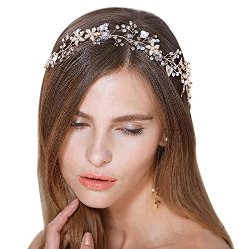FAYBOX Bridal Vintage Crystal Pearl Hairbands Wedding Hair Accessories (Gold-tone)