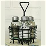 Spiral Wire Salt Pepper and Toothpick Caddy~Holder