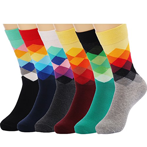 HSELL 6 Packs Men Color Dress Socks Funny Colorful Rainbow Argyle High Fun Sock,Multicolors,One Size (Funny Socks Pack compare prices)
